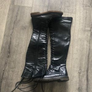 Faux leather knee high boots